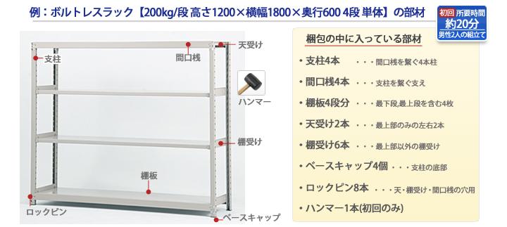 200kg/段 スチール棚